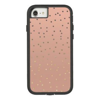 Grey ombre gold glitter polka dots salmon blush Case-Mate tough extreme iPhone 8/7 case