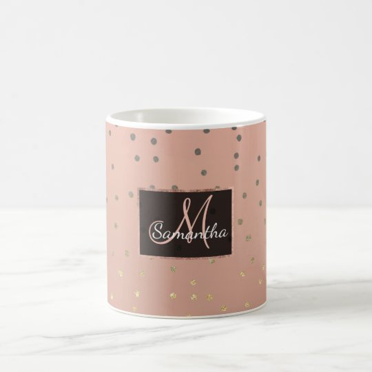 Grey ombre gold glitter polka dots salmon blush coffee mug