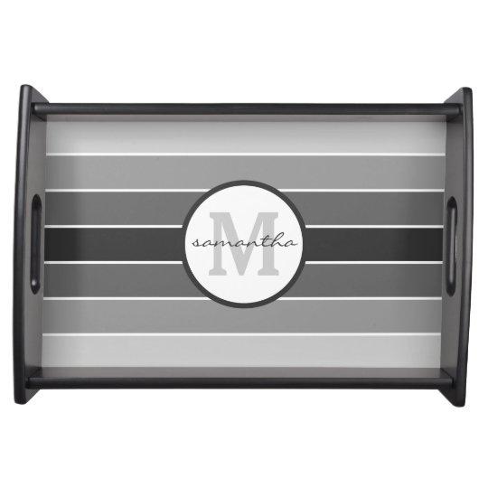 Grey Ombre Monogram Serving Tray