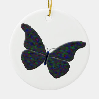 """Grey """"Opal"""" Butterfly Round Ceramic Ornament"""