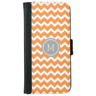 Grey Orange Chevron Pattern Monogram iPhone 6 Wallet Case
