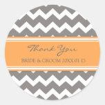 Grey Orange Chevron Thank You Wedding Favour Tags Round Stickers