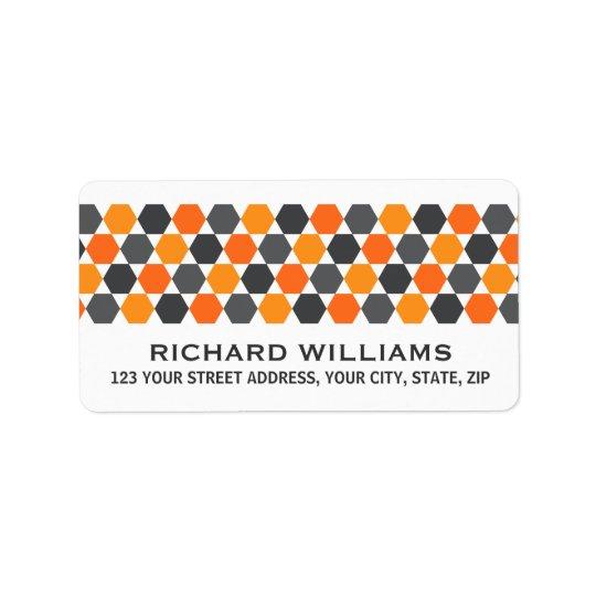 Grey orange hexagon border return address