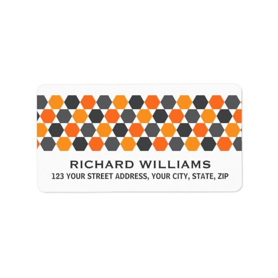 Grey orange hexagon border return address label