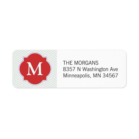 Grey & Orange Modern Chevron Custom Monogram Return Address Label