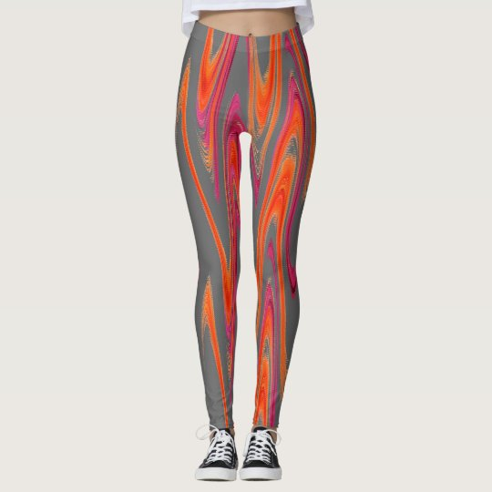 Grey Orange Pink Pattern Handmade Yoga Pants