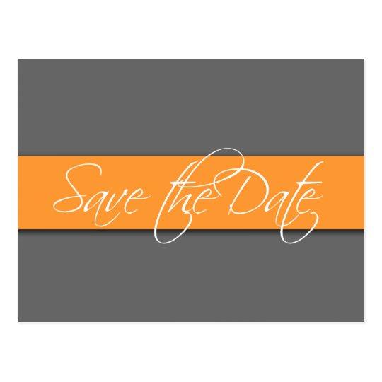Grey Orange Save the Date Postcards Wedding