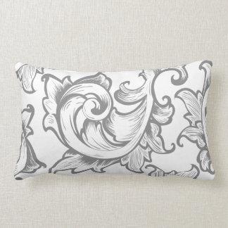 Grey Ornate Greek Leaves Scrolls Lumbar Pillow