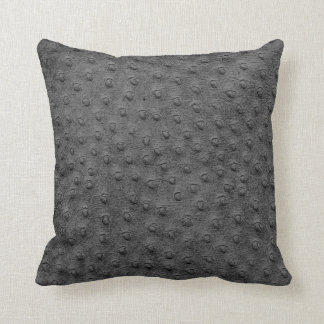 Grey Oversized Ostrich Leather Grain Pillow