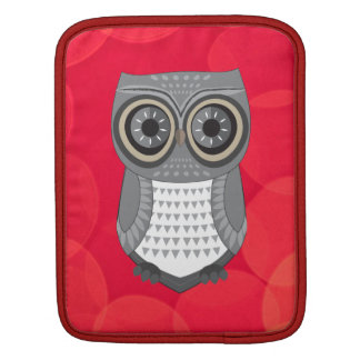Grey Owl Red Background iPad Sleeve