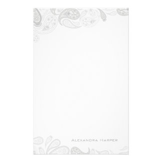 Grey Paisley Personalized Stationery