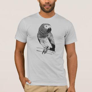 Grey parrot on grey shirt