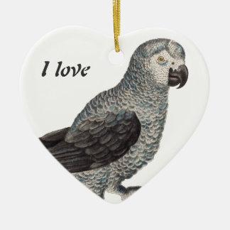 Grey Parrot - Psittacus erithacus Ceramic Heart Ornament