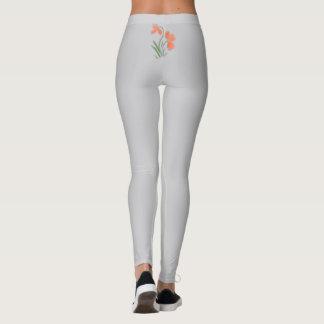 Grey Peach Floral Motif Leggings