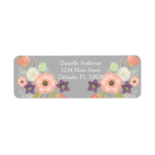 Grey Peach Watercolor Floral Return Address Label