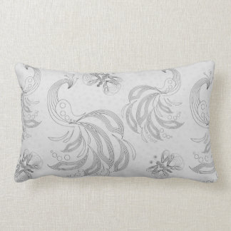 Grey peacock seamless pattern with halftones lumbar pillow