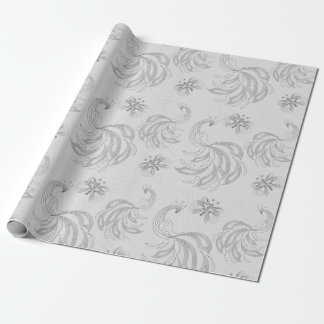 Grey peacock seamless pattern wrapping paper