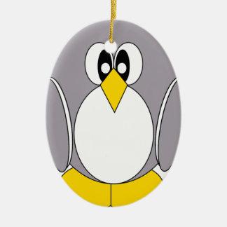 Grey Penguin Ceramic Oval Ornament