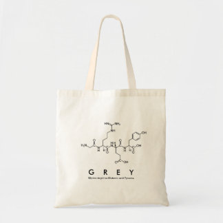 Grey peptide name bag
