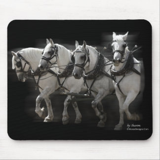 Grey Percheron Draft Horses - Four Abreast Mouse Pad