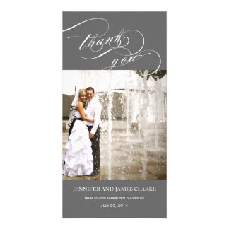 Grey Personalized Script Photo Wedding Thank You Picture Card