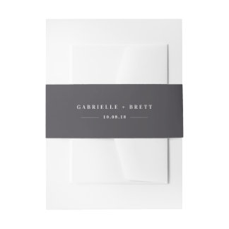 Grey Personalized Wedding Invitation Belly Band