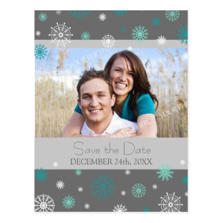 Grey Photo Save the Date Winter Wedding Postcards