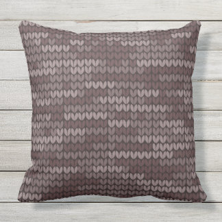 Grey pillow with Nordic sweater imitation pattern