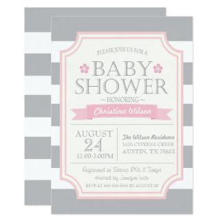 Grey & Pink Baby Shower Invitation