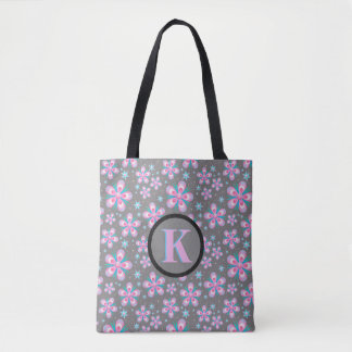 Grey Pink Blue Floral Black Trim Monogram Tote