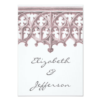 Grey & Pink Cathedral Wedding Invitations