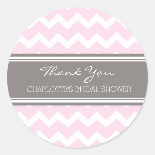 Grey Pink Chevron Bridal Shower Favour Tags