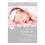 "Grey Pink Damask Cross Girl Photo Baptism 5"" X 7"" Invitation Card"