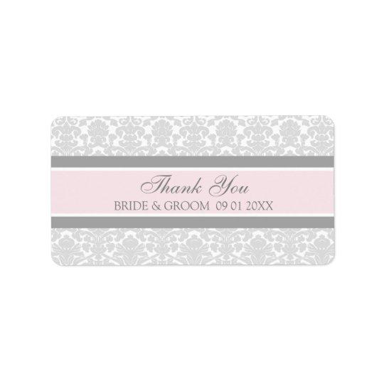 Grey Pink Damask Wedding Labels