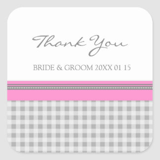 Grey Pink Gingham Thank You Wedding Favor Tags Square Sticker
