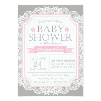 Grey Pink & Lace Baby Shower Invitation