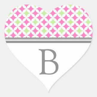 Grey Pink Lime Monogram Envelope Seal Heart Sticker