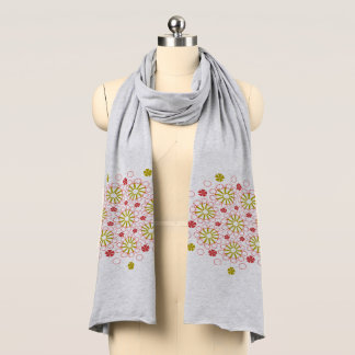 Grey, Pink, Mustard Floral Jersey Scarf. Scarf