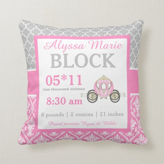Grey Pink Princess Baby Announcement Pillow