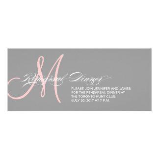 Grey Pink Rehearsal Dinner Invitation Monogram