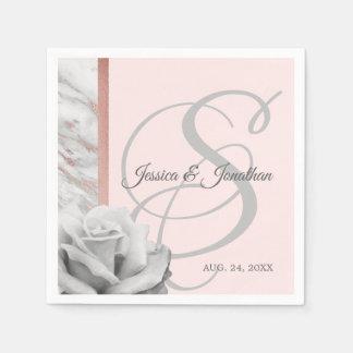 Grey & Pink Rose Gold Foil Marble Wedding Paper Napkins
