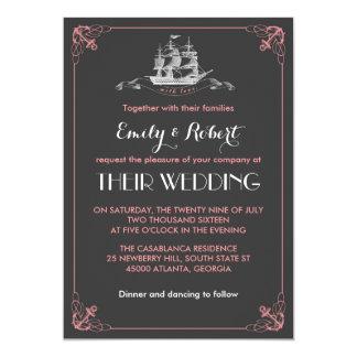 "Grey Pink Vintage Ship Anchor Wedding Invitation 5"" X 7"" Invitation Card"