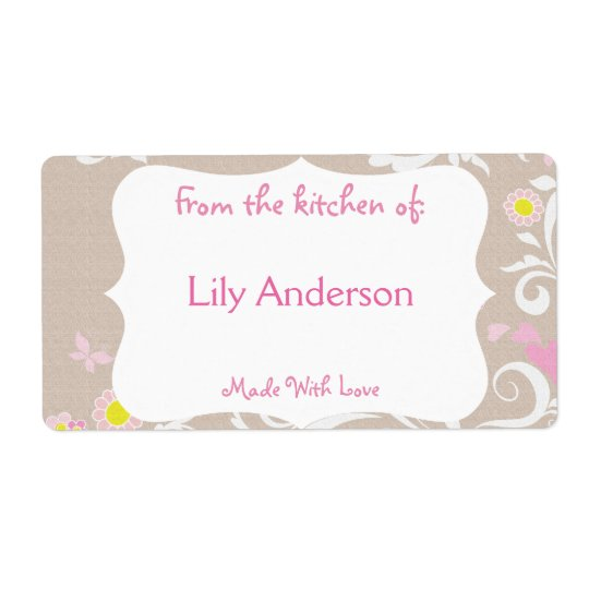 Grey & Pink Whimsical Canning Label