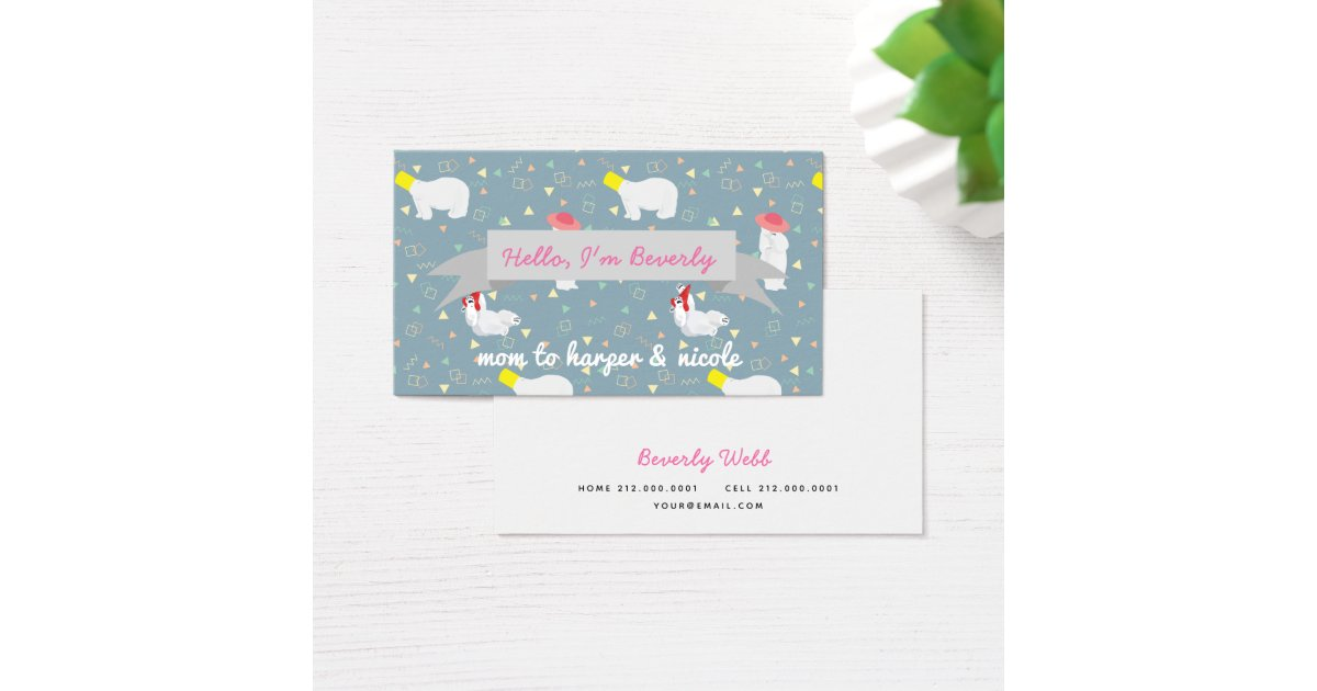 Grey Polar Bears Pattern Mommy Business Card | Zazzle.ca