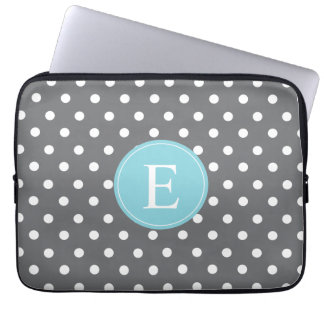 Grey Polka Dot Blue Monogram Laptop Sleeve