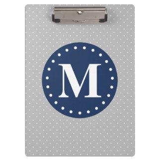 Grey Polka Dots Navy Blue Monogram Clipboard
