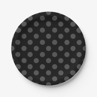 Grey polka dots on black 7 inch paper plate