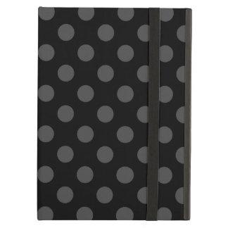 Grey polka dots on black iPad air cover