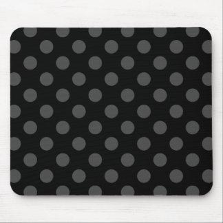 Grey polka dots on black mouse pad