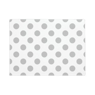 Grey polka dots on white doormat